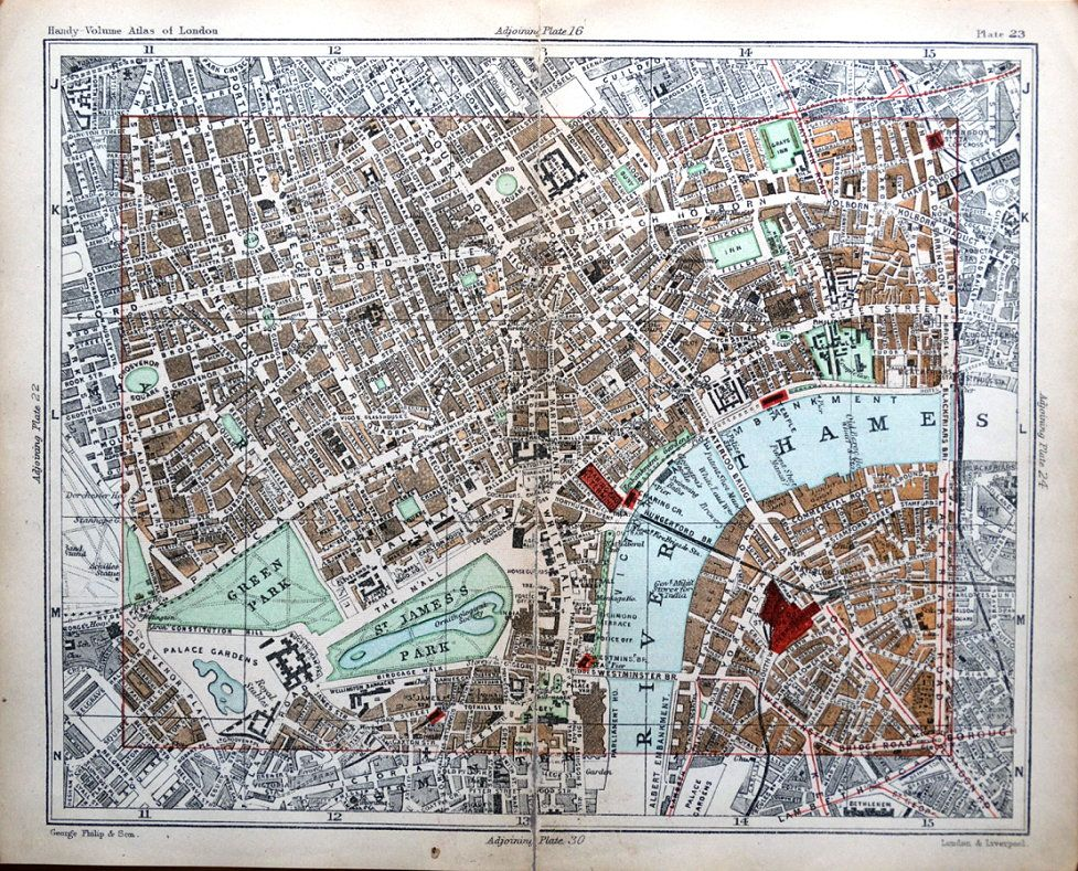 LONDON STREET PLAN OXFORD STREET THE STRAND PICCADILLY ClRCUS - 1896 map of us