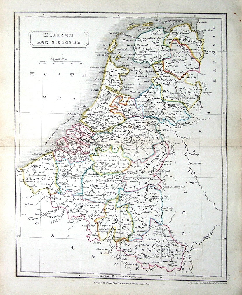 netherlands holland belgium luxembourg sidney hall antique map c1840