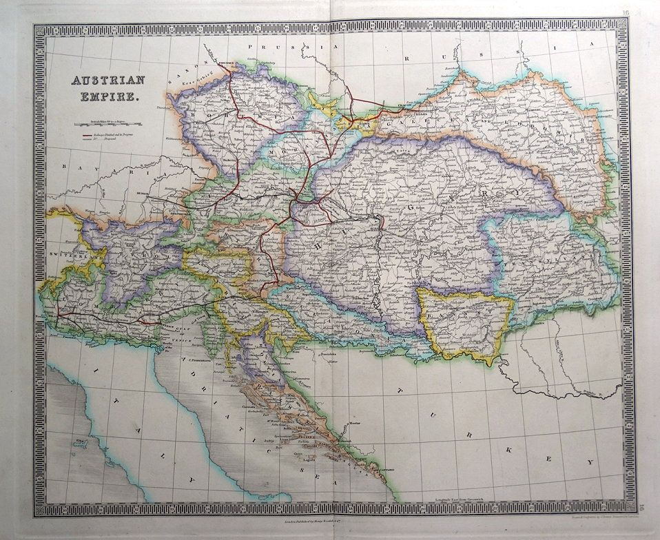 Austrian Empire With Railways Teesdale Original Hand Coloured Antique Map 1848