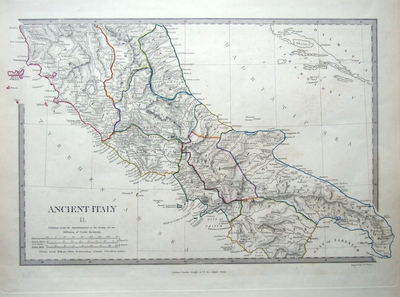 Map Of Europe 1840.Central Italy Rome Antique Map C1840