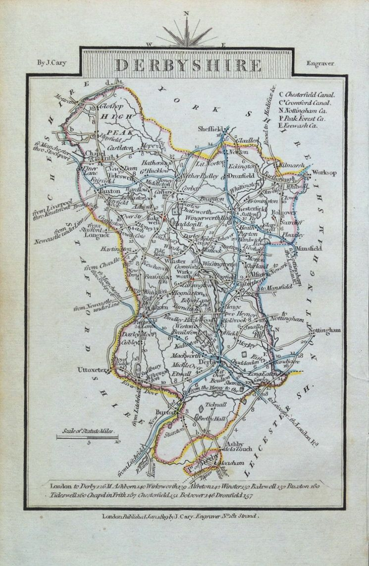Map Of England Derbyshire.Derbyshire John Cary Original Hand Coloured Miniature Antique