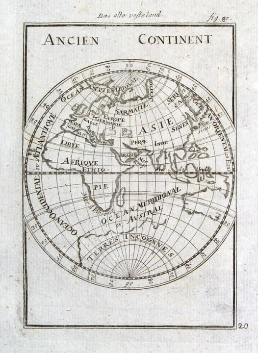 Eastern hemisphere old world ancien continent mallet orig antique eastern hemisphere old world ancien continent mallet orig antique map 1719 gumiabroncs Images
