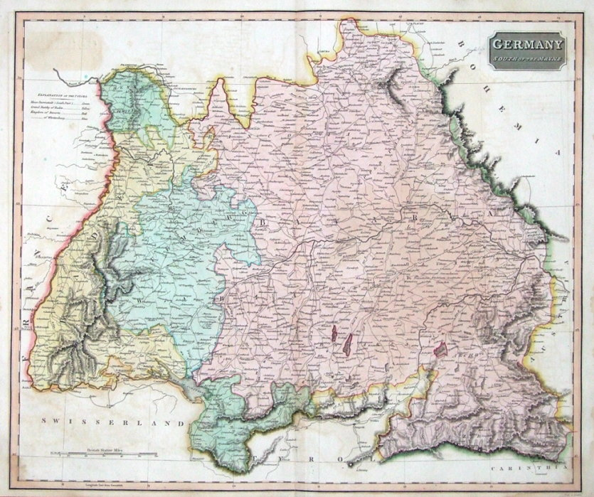 Map Of South Germany.Germany South Of The Main Austria Thomson Original Antique Map 1817