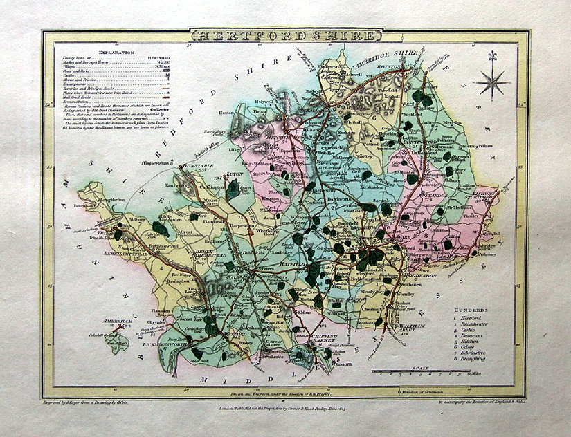 HERTFORDSHIRE Hand Coloured Antique County Map Cole Roper - Antique maps for sale uk