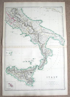 ITALY SOUTH, SICILY, MALTA,  Hughes antique map 1860