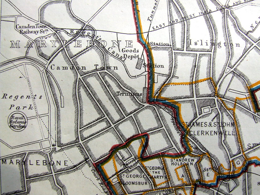 LONDON FINSBURY HORNSEY CAMDEN TOWN REGENTS PARK Antique Map 1868