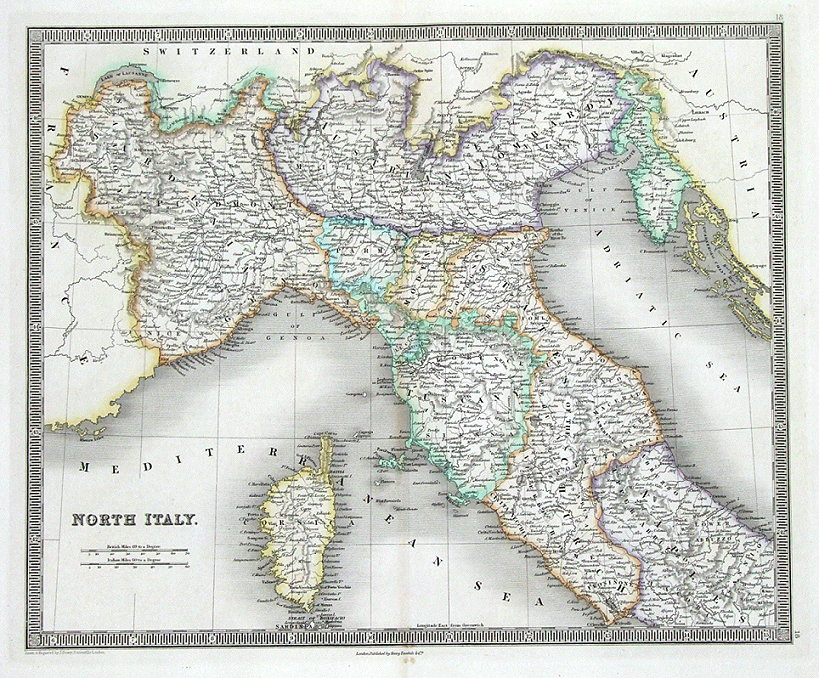 North Of Italy Map.North Italy Corsica Dower Teesdale Original Antique Map 1841