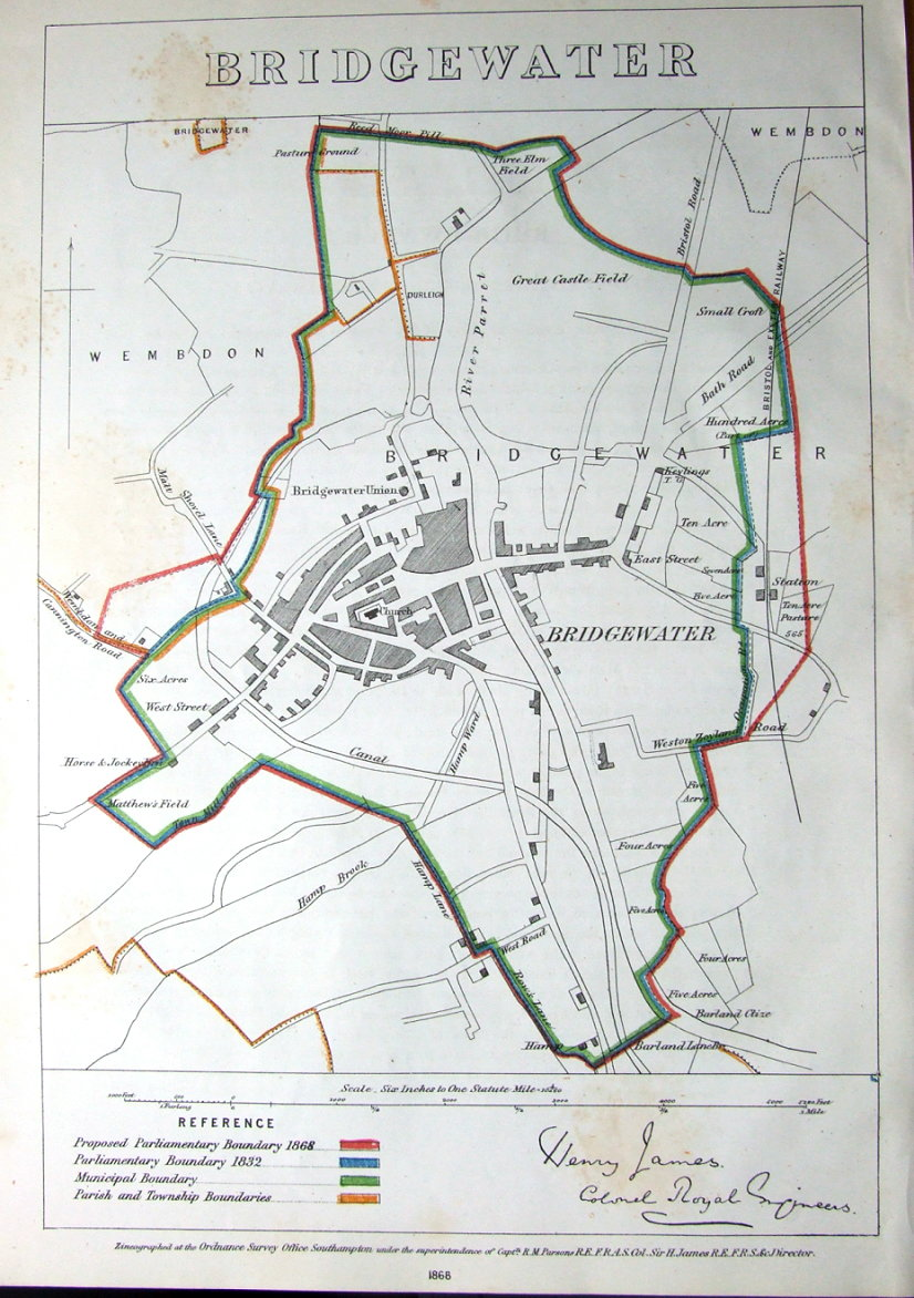 SOMERSET BRIDGWATER Boundaries Commission Antique Map 1868
