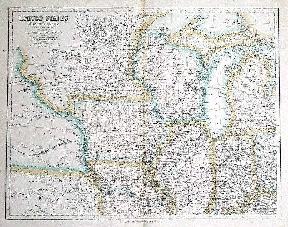 United States North America North Central Usa Fullarton Antique Map