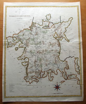 WORCESTERSHIRE, Large Cary antique map c1800